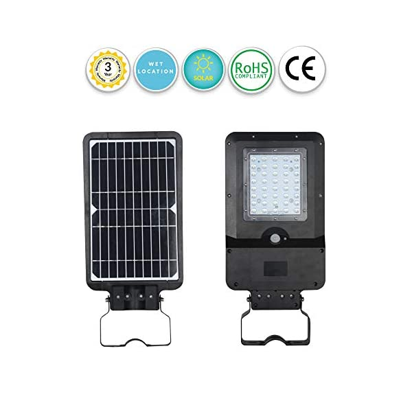 Solar LED Path or General Security Light with Motion Sensor and Dusk to Dawn – 15 Watt 1600 Lumens – Automatically Dims…