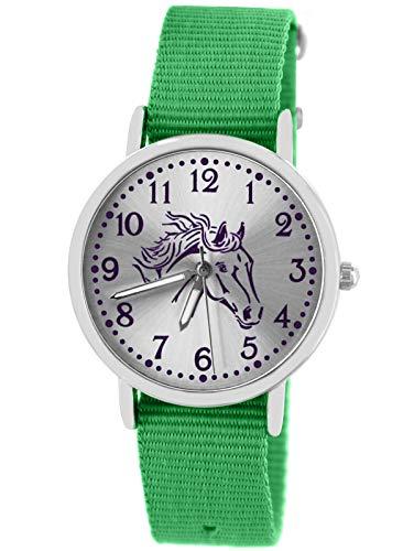 Pacific Time Mädchen Uhr Pferde analog Quarz mit Textil Wechselarmband grün 10303