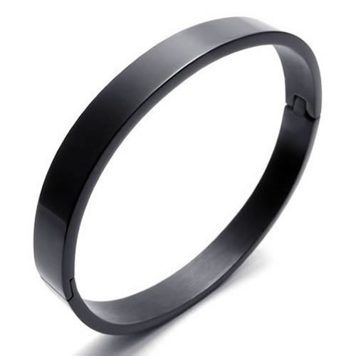 Joyas para Hombre Mujer KONOV pulsera, brazalete de acero inoxidable, negro