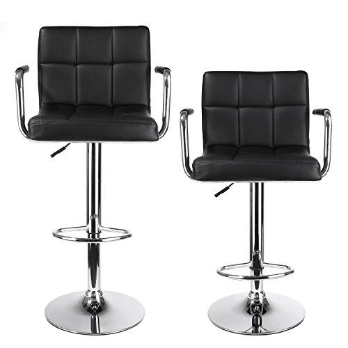 Homfa 2 STK. Barhocker Barstühle mit Armlehnen drehbar höhenverstellbar Lehne Belastbar bis 160kg schwarz