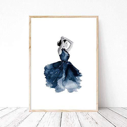 Din A4 Kunstdruck ungerahmt - Tanz Tänzerin Ballett Ballerina Aquarell Wasserfarbe blau Geschenk Druck Poster Bild