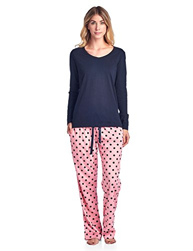 Ashford & Brooks Women's Long Sleeve Cotton Top with Mink Fleece Pants Pajama Set - Pink Polka Dot - 2X-Large