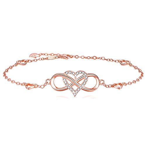 BlingGem Fußkettchen Damen aus Rotgold vergoldet 925 Sterling Silber mit Rundschliff Zirkonia Knöchel Armband Unendlichkeit Herz Frauen 27.5 cm