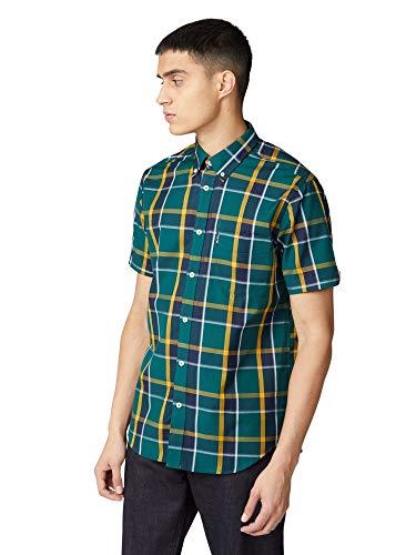 Ben Sherman SS Textured Check Shirt Camisa, Verde (Trekking Green 651), Medium...