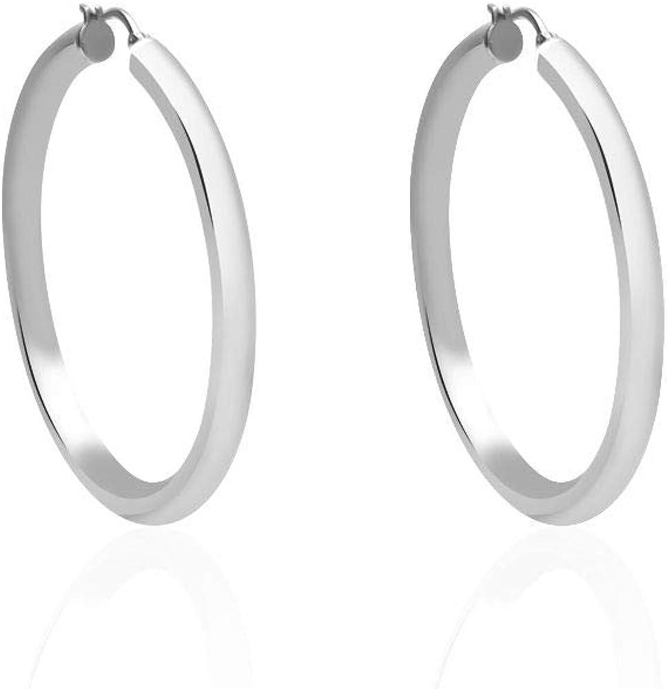 Stroili  orecchini per donna  a cerchio in acciaio rodiato 1664564