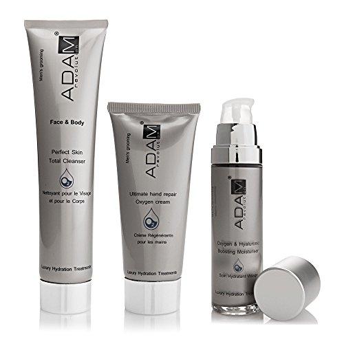 ADAM REVOLUTION Kit pour homme : Soin Hydratant Visage, 50 ml + Crème pour Mains, 100 ml + Nettoyant Visage/Corps, 200 ml