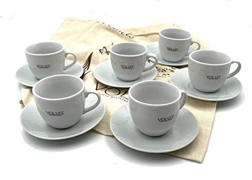 6 Tazas para Café Expreso VOLUIT - Juego de Café Expreso 6 Tazas 80ml, 6 Platillos, Vajillas de Ceramica Blanca - 12 Piezas + Voluit Tote Bag