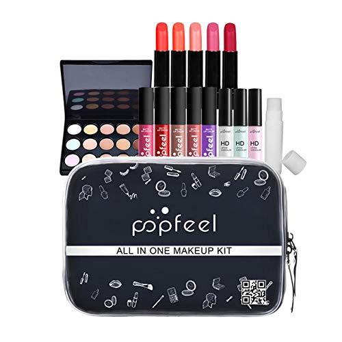 Kit de maquillaje todo en uno para mujer, paquete de maquillaje de 15 piezas, kit de maquillaje multiusos con brillo de labios, estuche de maquillaje, ceja para niñas, regalo de año nuevo para mujer
