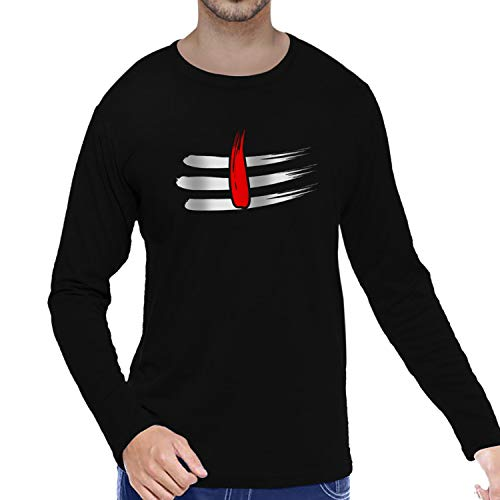 Pooplu Mens Shiva Tilak Cotton Printed Round Neck Full Sleeves Black T-Shirt. Hindu God, Shiv, Shiva, Mahadev Tshirts, Offer, Sale