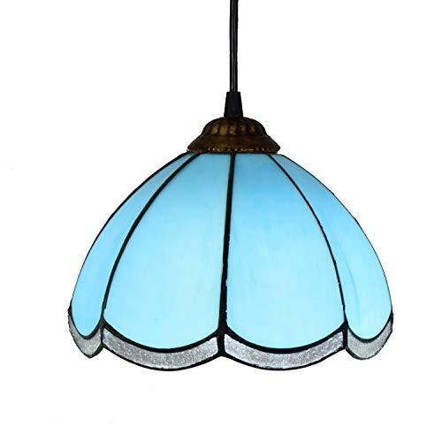YALIXING Candelabros de Color - 8-'Tiffany Style Blue Modern Mediterráneo Manchado de Vidrio Luz Colgante para los Corredores de Estudio Balcón Luces Creativas de decoración del hogar