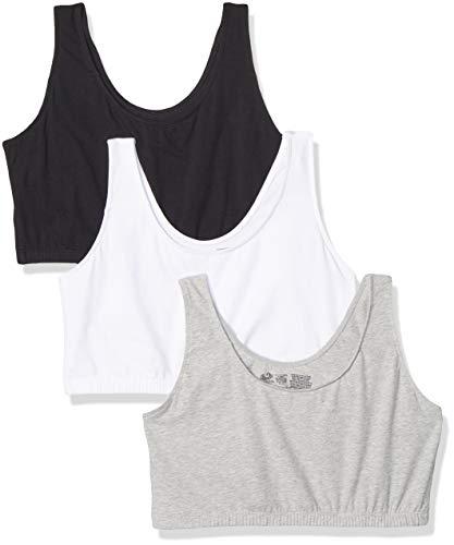 Fruit of the Loom Women's Tank Style Sports Bra - 3 Pack 9012 44 White/Black/Grey