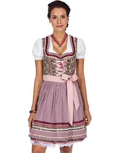 Stockerpoint Damen Dirndl Talita Kleid für besondere Anlässe, nuss-Bordeaux, 32