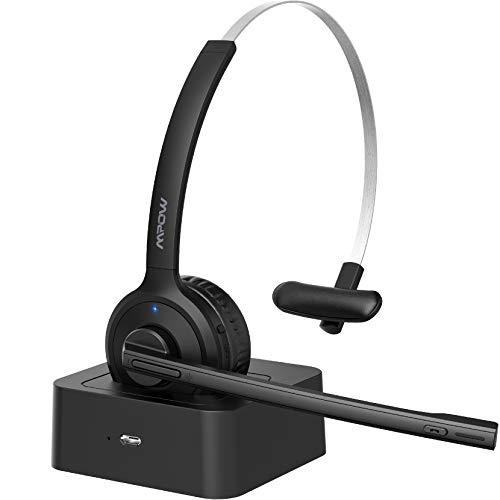 Mpow Auriculares Bluetooth V5.0 con Micrófono,Cancelación de Ruido, Auriculares Inalámbrico Diadema con Base de Carga, Auriculares Manos Libres Compartible con Móvil, Skype VoIP,Oficina, Conductor