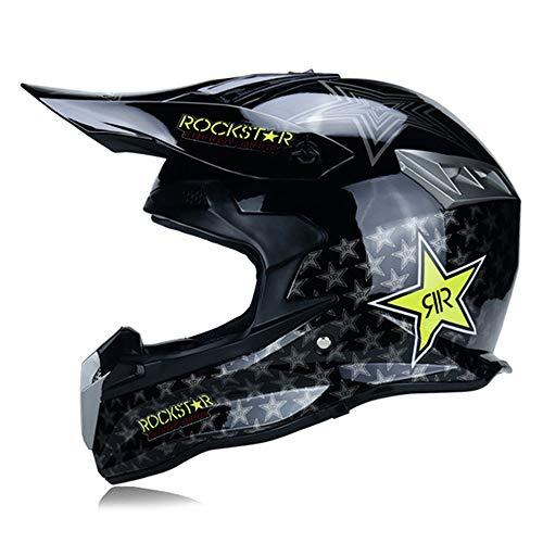 MRDEAR Casco Downhill Motocross Casco Rockstar Casco Moto Cross Adulto Casco MTB Integrale Enduro Offroad Sport con Fodera Rimovibile, Certificato DOT, 3 Stili,C,S