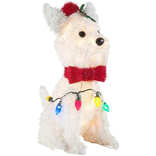 Holiday 24 White Fluffy LED Lighted Dog With Metal Frame Indoor/Outdoor Christmas Sculpture Decoration