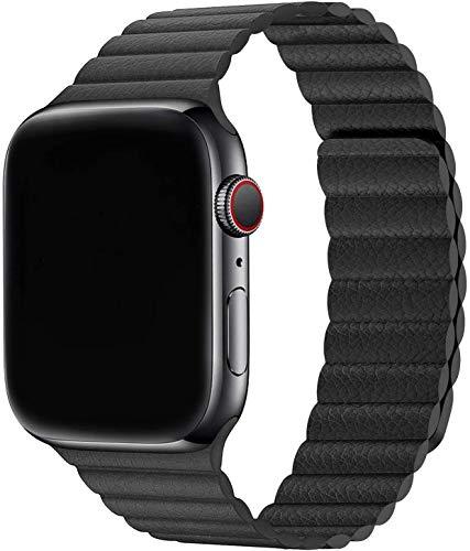 Sresrrw Pulseira de couro para compatível com Apple Watch série 6 44mm 42mm Band Loop de couro pulseira para Correia ajustável de couro com fecho magnético para mulheres homens Série 6/5/4/3/2/1/SE (42mm/44mm, Preto)