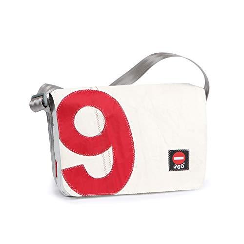 360° Barkasse Mini Segeltuchtasche, Recycling Laptoptasche bis 13'' Zoll, Umhängetasche Zahl rot Crossover, Weiß, Zahl Rot, 35 x 25 x 12