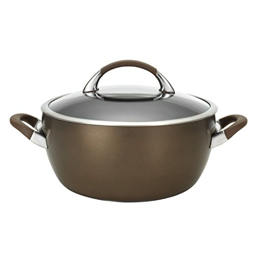 Circulon Symmetry Hard Anodized Nonstick Dish/Casserole Pan with Lid, 5.5 Quart, Chocolate Brown