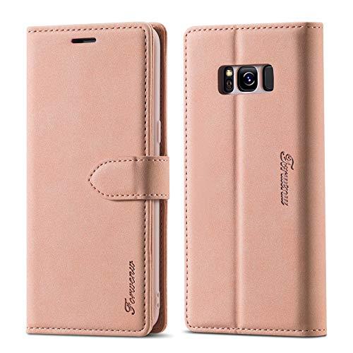 LOLFZ Funda tipo cartera para Samsung Galaxy S8 Plus, estilo vintage, de piel con tarjetero, función atril, cierre magnético, con tapa para Samsung S8 Plus, color oro rosa