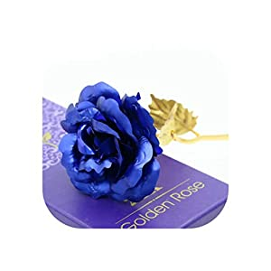 Charmg 24k Gold Plated Rose Flower Gold Dipped Roses Handcrafted Forever Rose Wedding Decoration with Gift Box P30,Blue,L