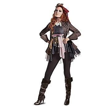 Disguise Women s Plus Size Potc5 Captain Jack Sparrow Female Deluxe Adult Costume Brown Large  12-14