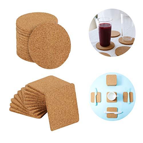 Osuter 30PCS Sottobicchiere Sughero Rotondo e Quadrato Coasters Drinks Scivolare Sottobicchiere per Cucina Ristorante Ufficio