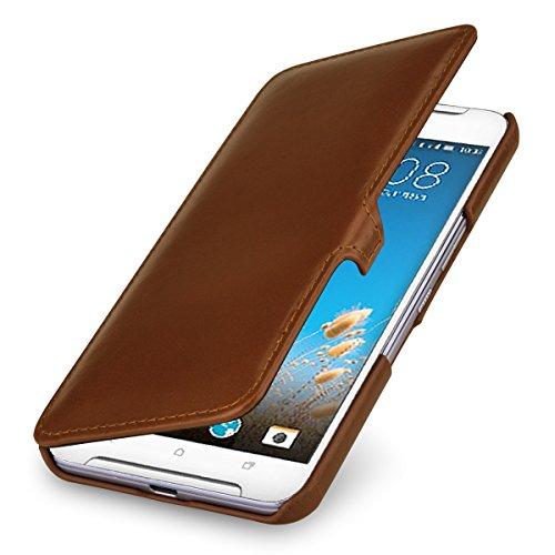 StilGut Book Type Hülle, Hülle Leder-Tasche kompatibel mit HTC One X9, Cognac mit Clip