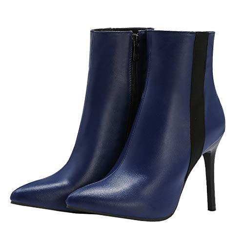 Dearney Damen Stiletto High Heels Stiefeletten mit Pfennigabsatz Spitz Damenschuhe 10cm Absatz Klassische Ankle Boots
