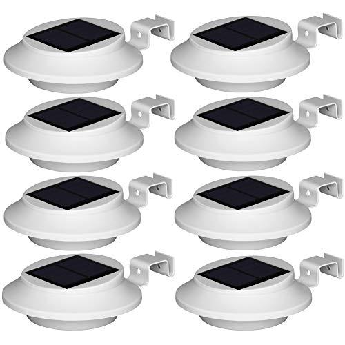 BILLION DUO Dachrinne Solarleuchten, Weiß Solarlampe 6LED Warmweiß Licht, Treppenleuchten Aussenleuchte mit lichtssensor, Wasserdicht für Garten, Zaun Dachrinnen Balkon,Terrasse