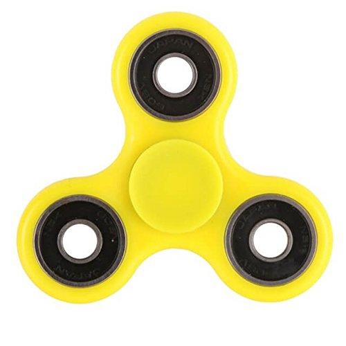 Christmas Concepts Spinner Fidget Fidget de 3 Caras Exclusivo Reductor de estrés, Alivio del estrés, Autismo, TDAH (Amarillo con Anillos Negros)
