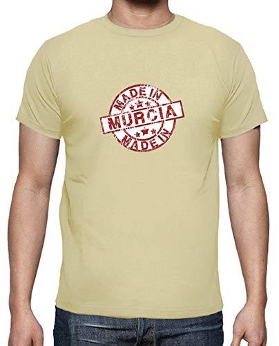 latostadora - Camiseta Made In Murcia para Hombre Crema S