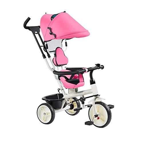 GYF Silla de Paseo Plegable for niños Trike Beginner Sun Shade Triciclos 4 en 1 Diseño Desmontable y manejable 1-6 años Niños Niñas Triciclos Regalo de cumpleaños (Color : Pink)