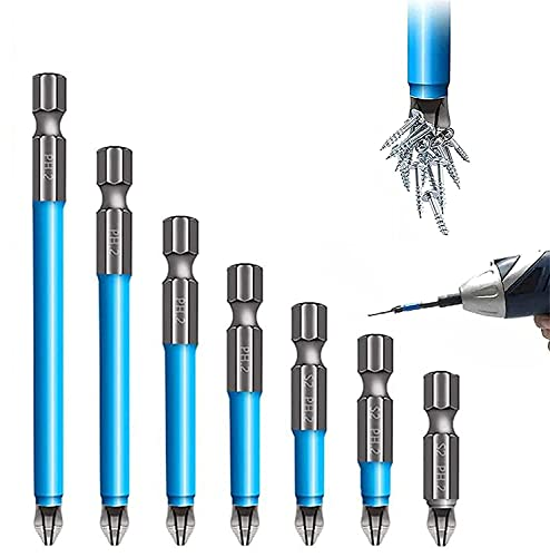 Magnetic Anti-Slip Drill Bit 7PCS,Magnetic PH2 Screwdriver Bits Set Anti Hex Phillips Screwdriver Bits Single and Double Head 25-150mm, Fits Hand Electric Drill Driver Tools
