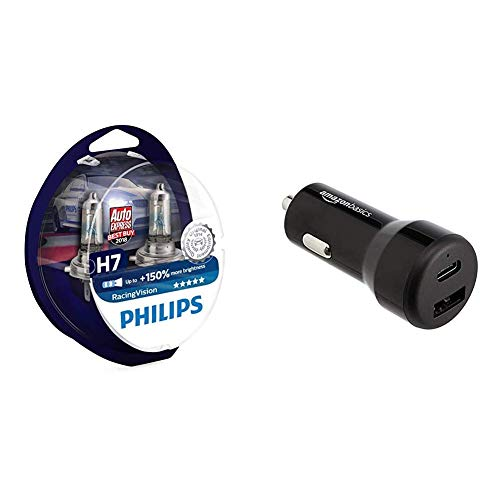 Philips RacingVision +150% H7 Scheinwerferlampe 12972RVS2, Doppelset & AmazonBasics - Kfz-Ladegerät, USB-C (15 W) und USB-A (12 W)