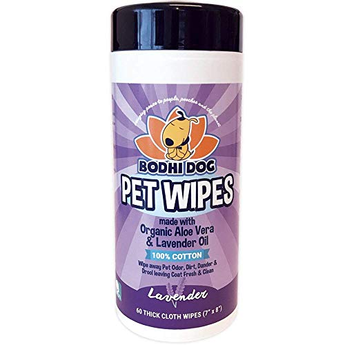 Pet Grooming Wipes | All Natural 100% Cotton Lavender and Organic Aloe | Large Wet & Thick Cleaning Best for Dogs and Cats