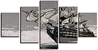 LIUZYU 5 Piece Painting Canvas Wall Art Home & Kitchen Giclee Canvas Prints Painting Home Decor Sailing Boat Poster Retro Black White Sailboat Pictures Living Room Wall Art-Frameless