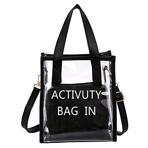 PVC Taschen Transparent Reise Organizer, Damen Handtasche Wasserdichte Strandtasche Transparente, 2 Taschen Durchsichtig Handbag (Schwarz)