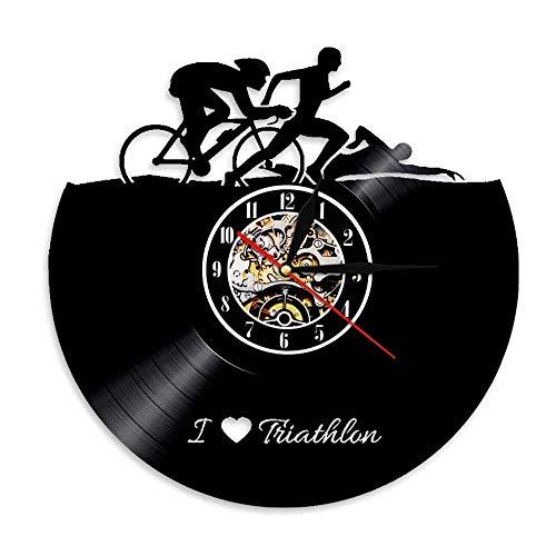 Usmnxo Deportes Natación Correr Ciclismo Disco de Vinilo Reloj Hecho a Mano Deportes Pareja Regalo Atleta Retro Decoración del hogar Triatlón Reloj de Pared 12 Pulgadas (30 cm) con luz LED