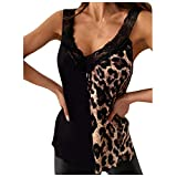 Blusas Leopardo Mujer Flojas,Camisetas Mujer Sexy Escote,Blusa Escote V Profundo Encaje Mujer,Camisetas Sin Manga Mujer Algodon con Blonda