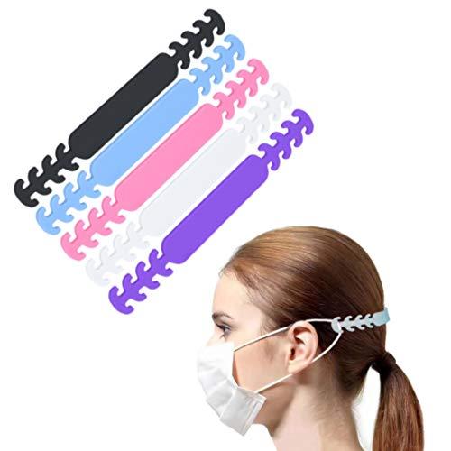 Nalissa - Extensiones de correa para máscara – [lote de 5 unidades] Gancho antideslizante [5 colores] Hebillas de suspensión fijador banda ajustable de silicona