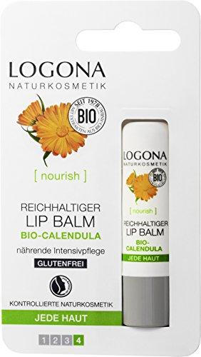 LOGONA Naturkosmetik Reichhaltiger Lip Balm, Versorgt und verwöhnt die zarte Lippenhaut mit reichhaltiger Pflege, (1 x 4,5g )
