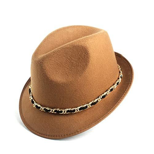 no-branded Sombrero de Fedora Lana Caballero mamá Humboldt Iglesia Jazz Hombres Regalo del Padre de poliéster Sombrero Sombrero de Fedora Fedora LJPEUR (Color : Navy Blue, Size : 58CM)