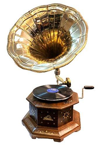 Antique Museum His Master Voice The Gramophone Co. {HMV} Six Corner Brass Horn Vintage Wooden Art Desk Décor Turntable Antique Machine Musical Box Phonograph A3BG 019