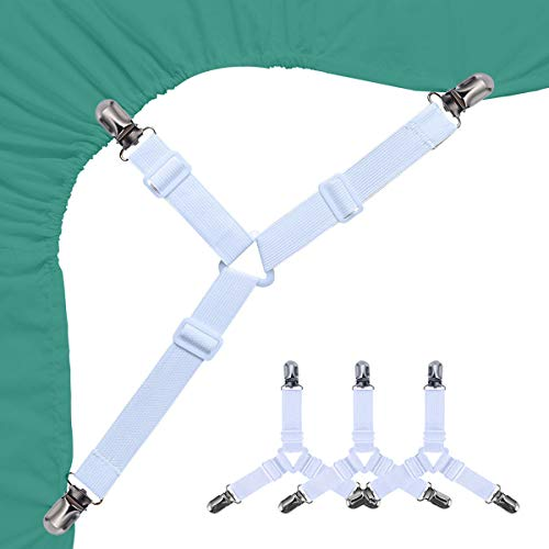 Siaomo Bed Sheet Stays Clips - 3 Way Adjustable Bed Sheet Fasteners Straps Fitted Sheet Corner Holder Grippers for Cal King Queen Full Twin Mattress Cover(4Pcs Triangle White)