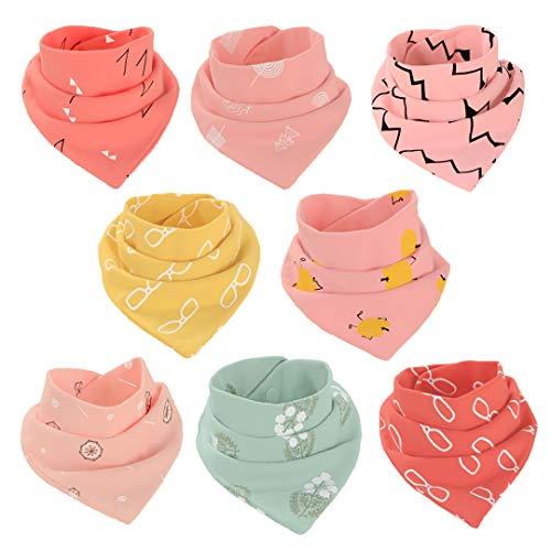 8 Pezzi Bavaglini Cotone Bavaglino Morbido e Assorbente Asciugamano Saliva Bavaglini a Triangolo per Neonati, Bambini e Neonati ragazze