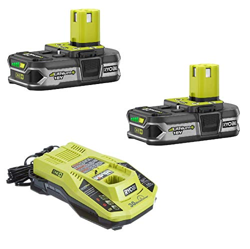 Ryobi P117 Dual Chemistry IntelliPort Charger & Two P107 Compact LITHIUM+ Battery (Bulk Packaged) (Renewed) …