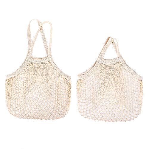 2 Stück Gemüse Einkaufsnetz aus Bio-Baumwolle, Mit Taschen lange Netz-Schultertasche mit kurzem Griff,wiederverwendbar und langlebig,Brotsack Waschbar & Umweltfreundliches