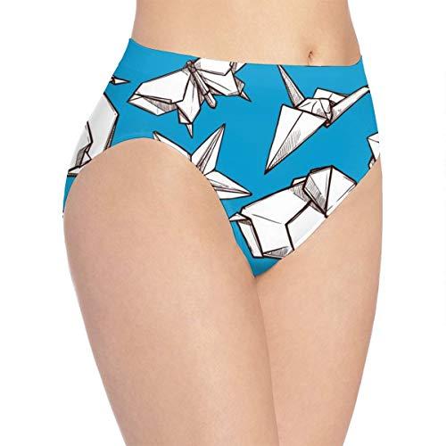qingdaodeyangguo - Ropa interior sin costuras con fondo de pez personalizado bikini bragas hipster Blanco Figuras plegadas de papel origami L