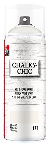 Marabu 02630018171 - Chalky Chic Spray, edelweiß 400 ml, deckende, matte Kreidesprühfarbe auf Wasserbasis, für samtweiche Oberfläche auf Holz, Metall und Kunststoff, Used Look durch Anschleifen