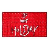 huhulala Alfombrilla antideslizante para bañera para niños y bebés, accesorio para bañera Happy Holiday Red Quote
